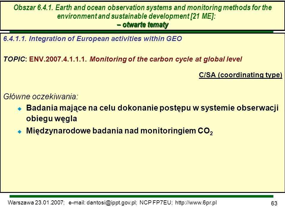 Warszawa 23.01.2007; e-mail: dantosi@ippt.gov.pl; NCP FP7EU; http://www.6pr.pl 63 – otwarte tematy Obszar 6.4.1. Earth and ocean observation systems a