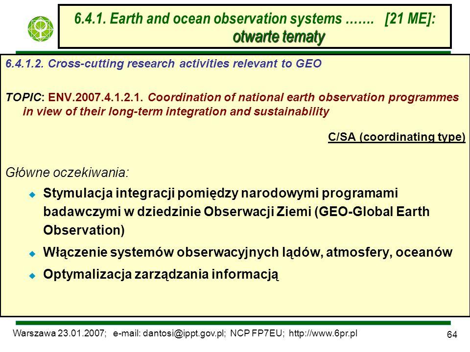 Warszawa 23.01.2007; e-mail: dantosi@ippt.gov.pl; NCP FP7EU; http://www.6pr.pl 64 otwarte tematy 6.4.1. Earth and ocean observation systems ……. [21 ME