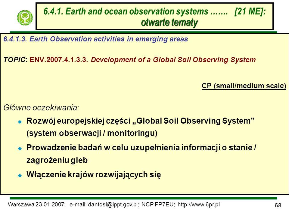 Warszawa 23.01.2007; e-mail: dantosi@ippt.gov.pl; NCP FP7EU; http://www.6pr.pl 68 otwarte tematy 6.4.1. Earth and ocean observation systems ……. [21 ME