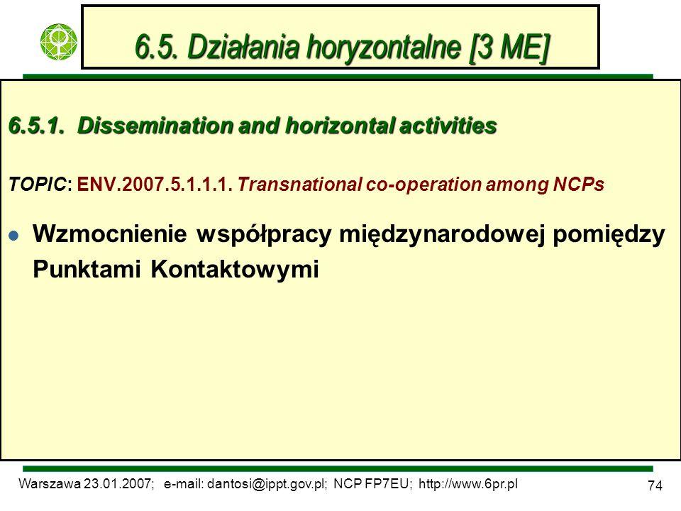 Warszawa 23.01.2007; e-mail: dantosi@ippt.gov.pl; NCP FP7EU; http://www.6pr.pl 74 6.5. Działania horyzontalne [3 ME] 6.5.1. Dissemination and horizont