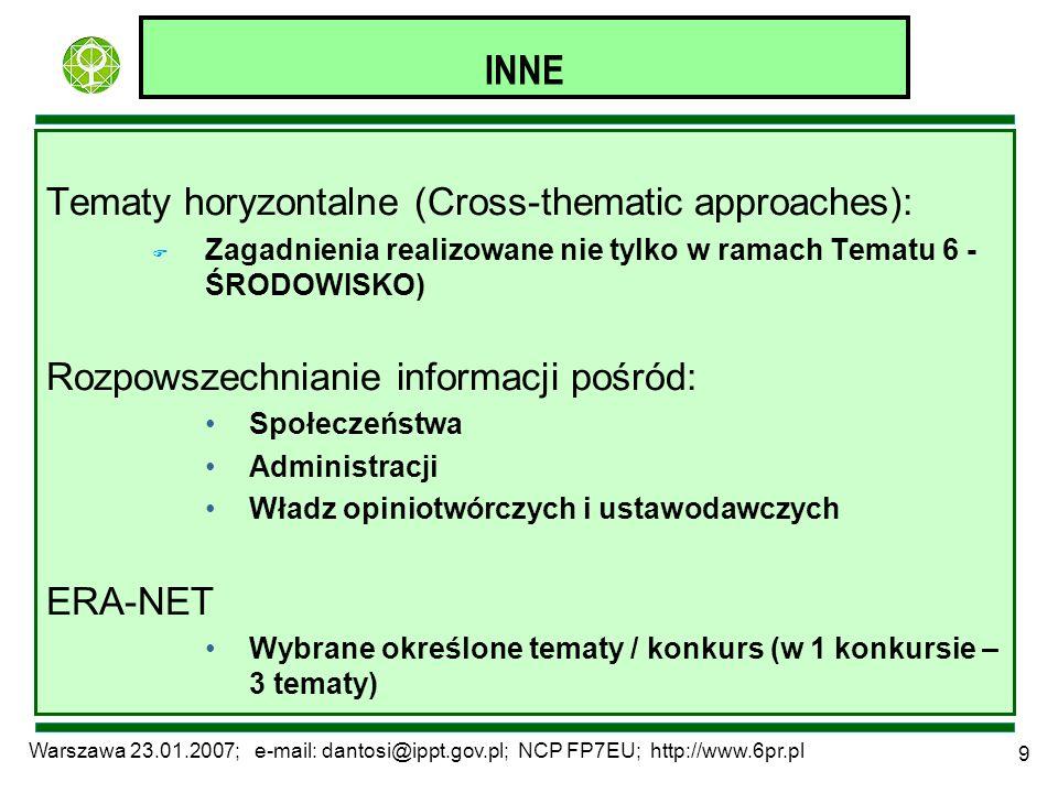Warszawa 23.01.2007; e-mail: dantosi@ippt.gov.pl; NCP FP7EU; http://www.6pr.pl 9 INNE Tematy horyzontalne (Cross-thematic approaches): F Zagadnienia r