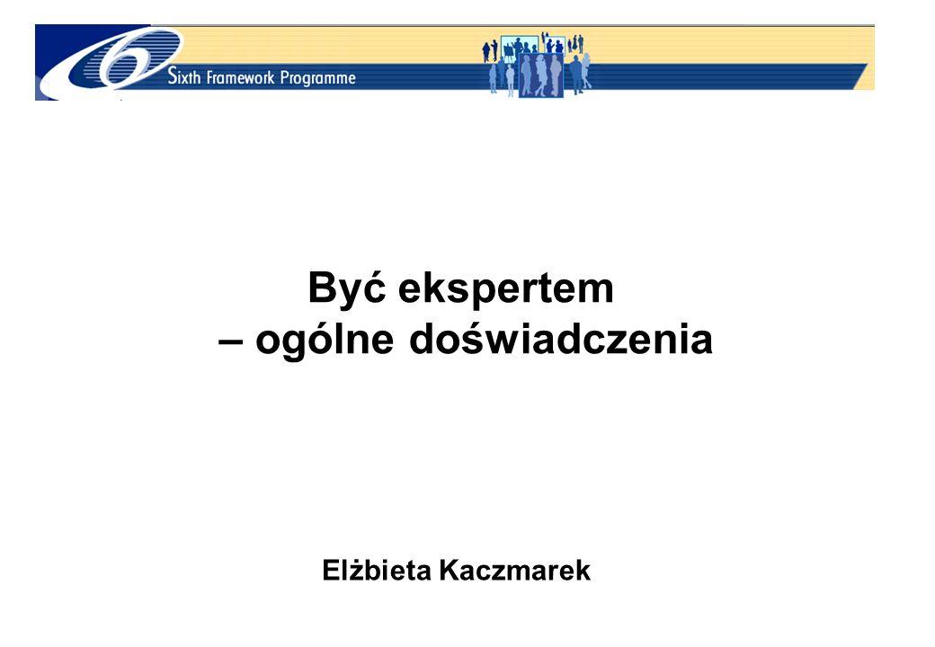 Być ekspertem – ogólne doświadczenia Elżbieta Kaczmarek
