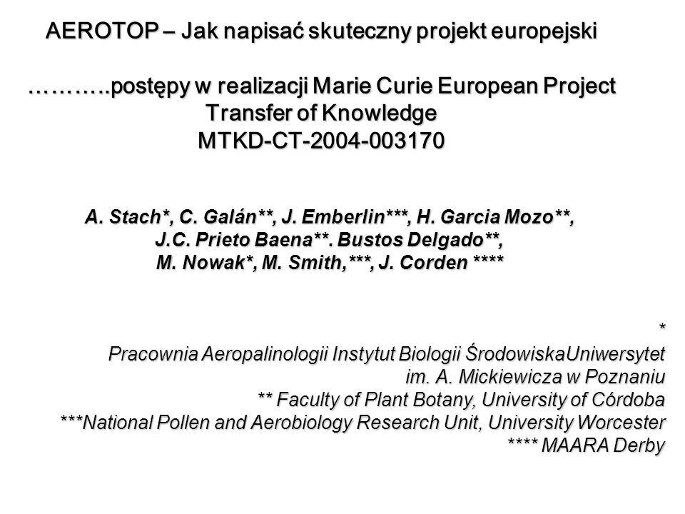 AEROTOP – Jak napisać skuteczny projekt europejski ………..postępy w realizacji Marie Curie European Project Transfer of Knowledge MTKD-CT-2004-003170 A.