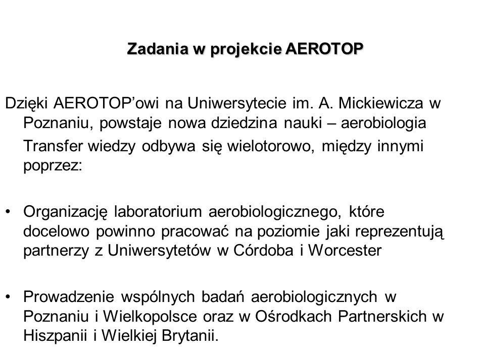 Zadania w projekcie AEROTOP Zadania w projekcie AEROTOP Dzięki AEROTOPowi na Uniwersytecie im.
