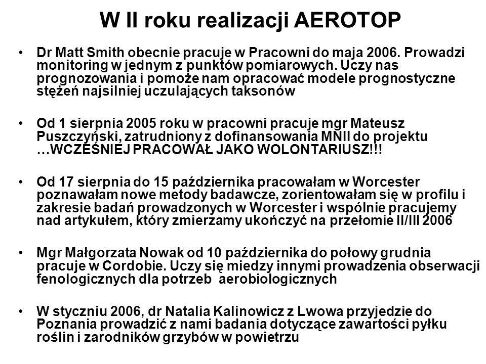 W II roku realizacji AEROTOP Dr Matt Smith obecnie pracuje w Pracowni do maja 2006.