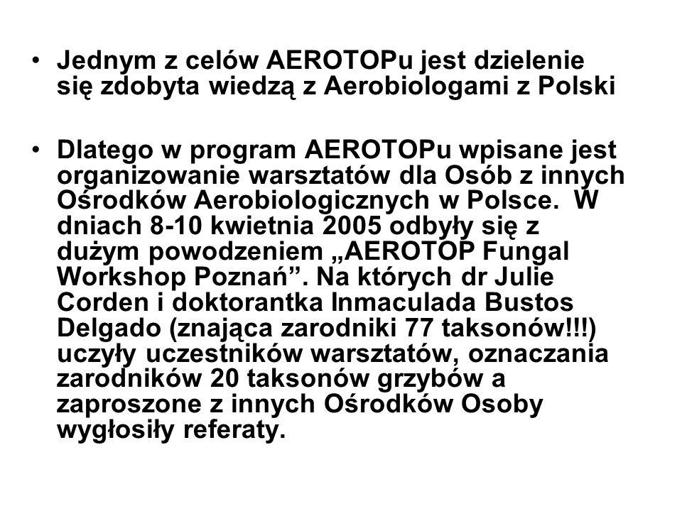 Jednym z celów AEROTOPu jest dzielenie się zdobyta wiedzą z Aerobiologami z Polski Dlatego w program AEROTOPu wpisane jest organizowanie warsztatów dla Osób z innych Ośrodków Aerobiologicznych w Polsce.