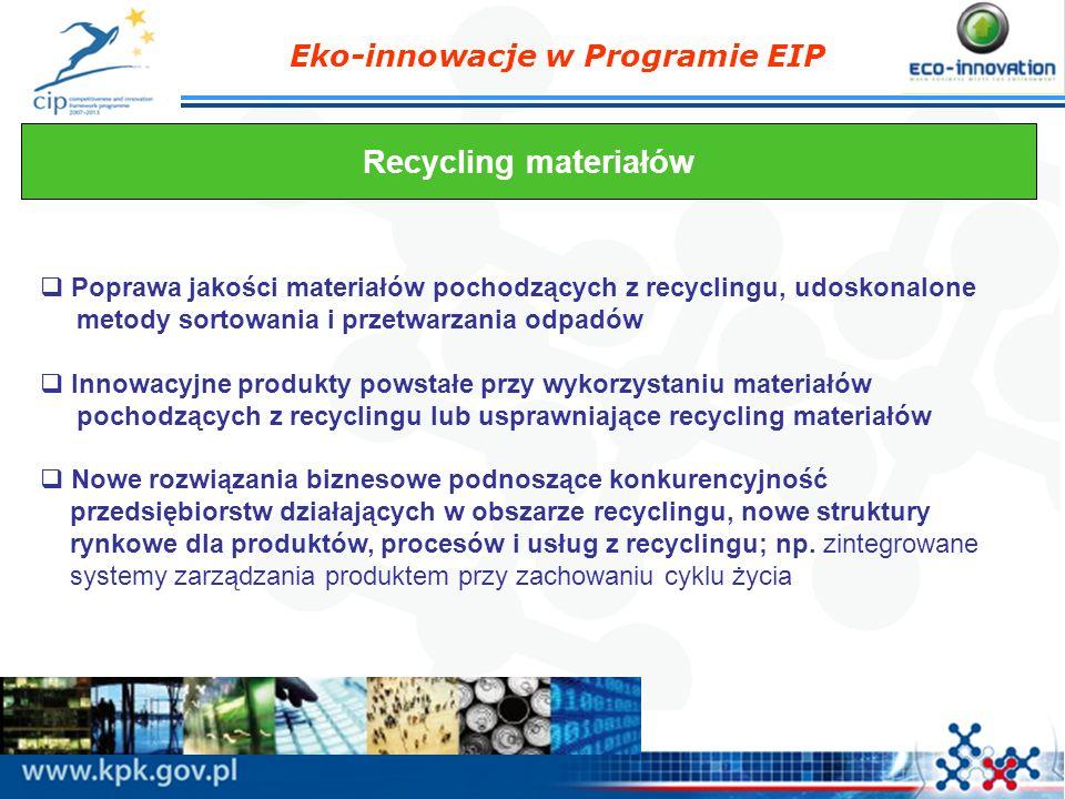 Eko-innowacje w Programie EIP Recycling materiałów Poprawa jakości materiałów pochodzących z recyclingu, udoskonalone metody sortowania i przetwarzani