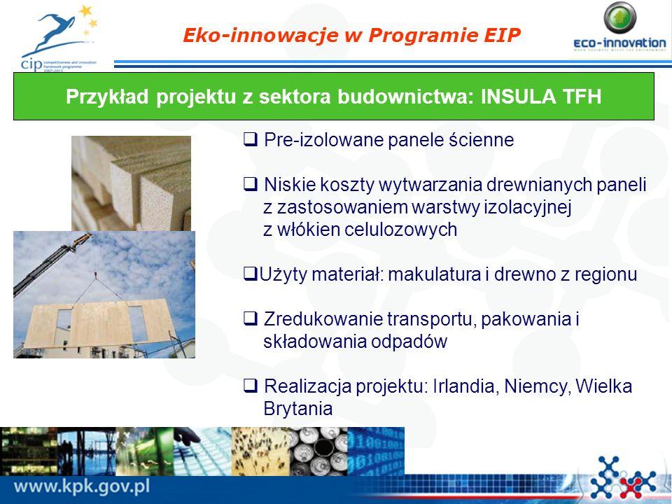 Eko-innowacje w Programie EIP Przykład projektu z sektora budownictwa: INSULA TFH Pre-izolowane panele ścienne Niskie koszty wytwarzania drewnianych p