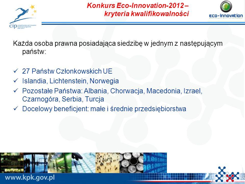Konkurs Eco-Innovation-2012 – kryteria kwalifikowalności Każda osoba prawna posiadająca siedzibę w jednym z następującym państw: 27 Państw Członkowski