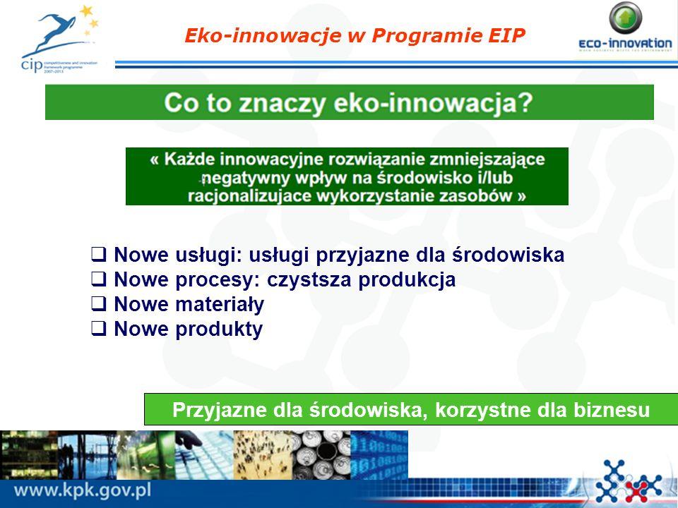 Eko-innowacje w Programie EIP Trzy główne cechy projektów ekoinnowacyjnych Korzyści dla środowiska naturalnego: skwantyfikowana redukcja oddziaływania na środowisko naturalne w odniesieniu do istniejących technologii; zachowanie cyklu życia Korzyści gospodarcze (włączając replikację na szeroką skalę): sens ekonomiczny projektu, biznes plan, zachowanie rezultatów projektu po jego zakończeniu; Podnoszenie poziomu innowacyjności: innowacje w sektorze, innowacja na poziomie kraju i regionu