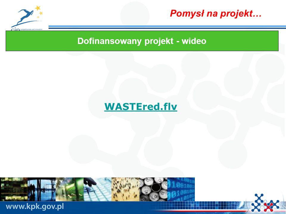 Pomysł na projekt… WASTEred.flv Dofinansowany projekt - wideo