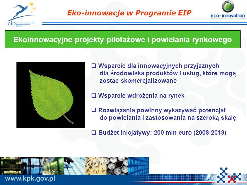 Eko-innowacje w Programie EIP Ekoinnowacyjne projekty pilotażowe i powielania rynkowego Wsparcie dla innowacyjnych przyjaznych dla środowiska produktó