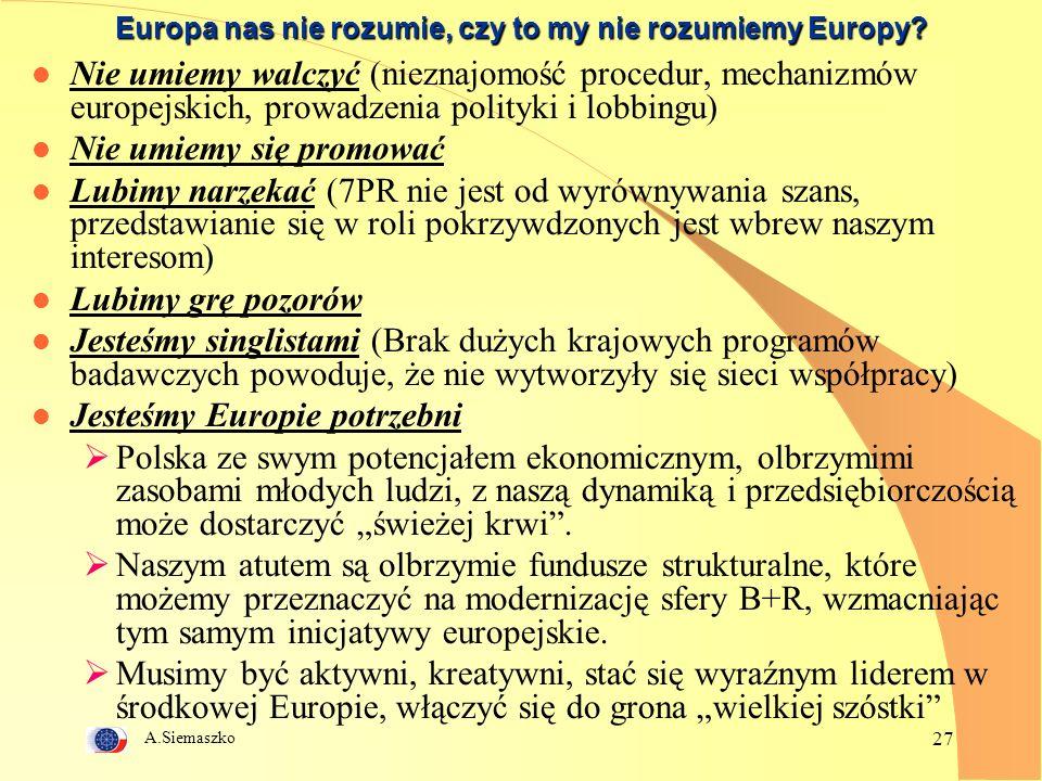 A.Siemaszko 27 Europa nas nie rozumie, czy to my nie rozumiemy Europy.