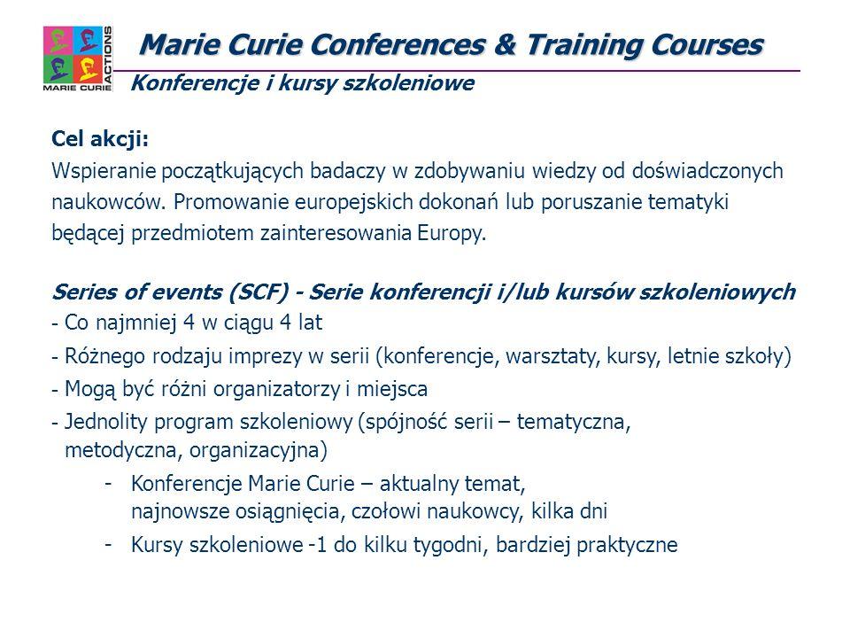 Marie Curie Conferences & Training Courses Marie Curie Conferences & Training Courses Konferencje i kursy szkoleniowe Cel akcji: Wspieranie początkujących badaczy w zdobywaniu wiedzy od doświadczonych naukowców.