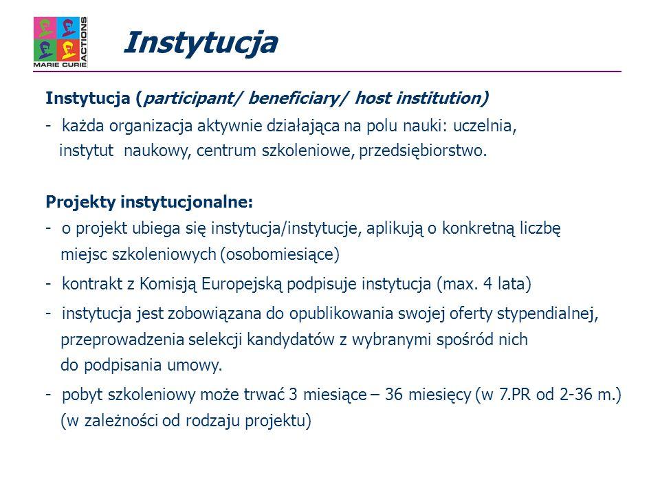 Platforma szkoleniowa dla początkującej kadry naukowej (training activities) - szkolenie poprzez bezpośredni udział w pracach badawczych w formie indywidualnych programów szkoleniowych, (Personal Career Development Plan: potrzeby szkoleniowe, cele naukowe, raport końcowy) - kursy szkoleniowe organizowane z myślą o całej sieci (warsztaty, szkoły letnie) zwłaszcza uwzględniające jej wielo-dyscyplinarne aspekty - zarządzanie projektami, umiejętność prezentacji, umiejętność pracy w zespole, zagadnienia etyczne, specjalistyczne kursy językowe, ochrona praw własności intelektualnej,… Sieci Marie Curie (ITN) 7.PR Szkolenie początkujących naukowców