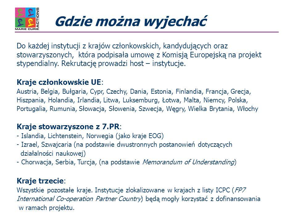 Gdzie można wyjechać Do każdej instytucji z krajów członkowskich, kandydujących oraz stowarzyszonych, która podpisała umowę z Komisją Europejską na projekt stypendialny.