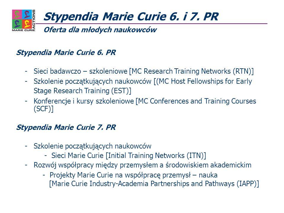 Stypendia Marie Curie 6. i 7. PR Oferta dla młodych naukowców Stypendia Marie Curie 6.