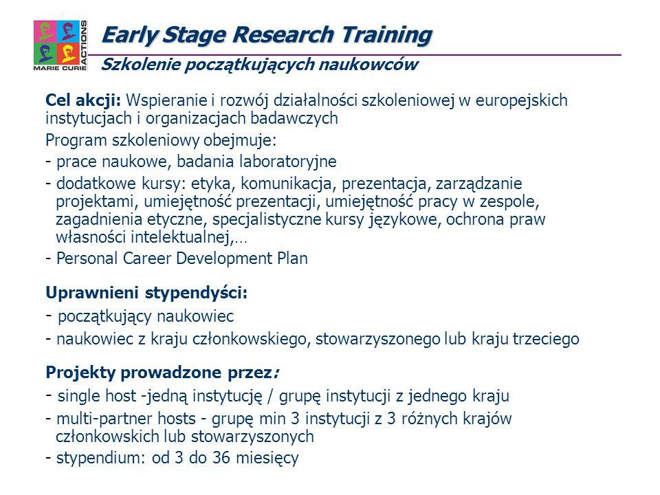 EarlyStage Research Training Early Stage Research Training Szkolenie początkujących naukowców Aktualnie w bazie ofert znajduje się 21 ogłoszeń o wolnych miejscach http://mc-opportunities.cordis.lu/home_vac.cfm