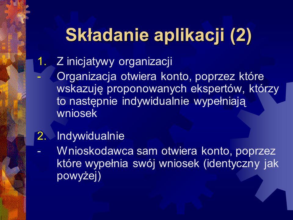 Składanie aplikacji (2) 1.Z inicjatywy organizacji -Organizacja otwiera konto, poprzez które wskazuję proponowanych ekspertów, którzy to następnie ind