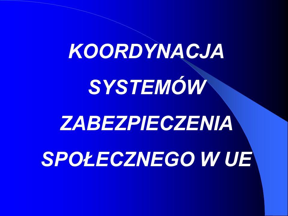 Podstawowe zasady koordynacji i przepisy prawne Z dniem uzyskania przez Polskę członkostwa w Unii Europejskiej obok wewnętrznych przepisów prawnych dotyczących obowiązku ubezpieczenia społecznego : - ustawy z dnia 13 października 1998r.