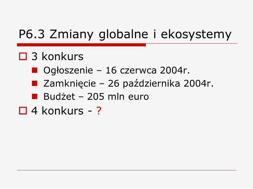 P6.3 Zmiany globalne i ekosystemy 3 konkurs Ogłoszenie – 16 czerwca 2004r.