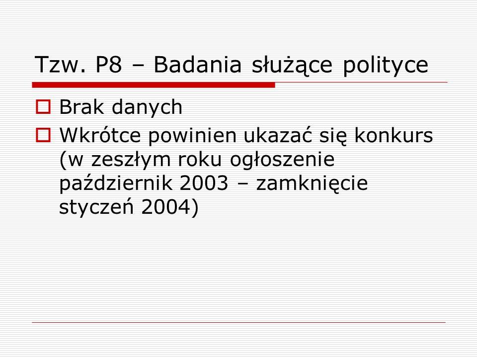 Tzw. P8 – Badania służące polityce Brak danych Wkrótce powinien ukazać się konkurs (w zeszłym roku ogłoszenie październik 2003 – zamknięcie styczeń 20