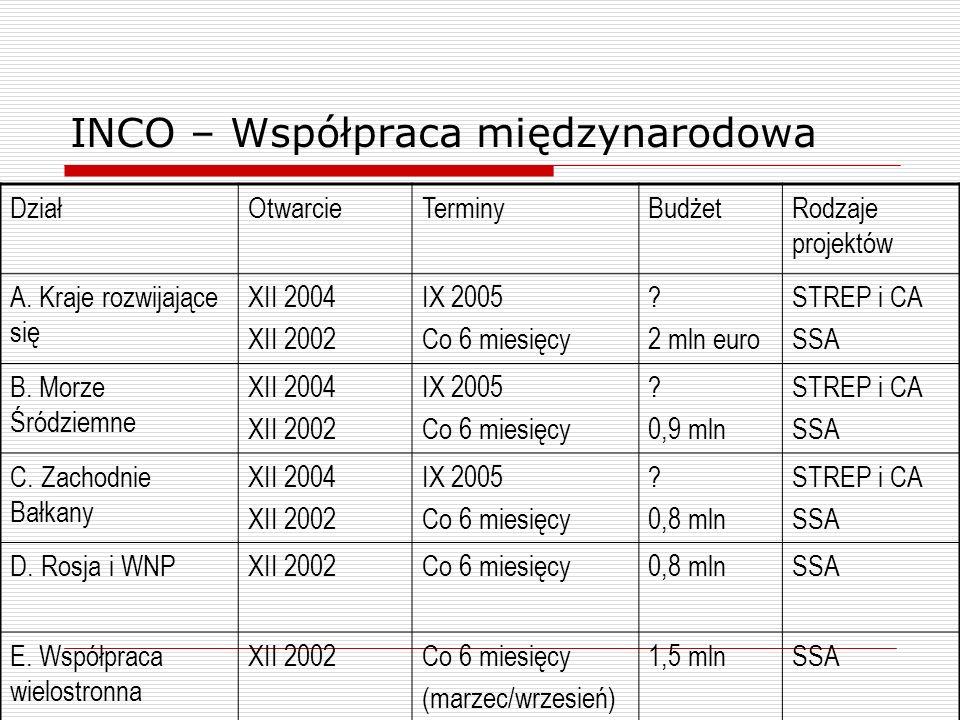 INCO – Współpraca międzynarodowa DziałOtwarcieTerminyBudżetRodzaje projektów A.