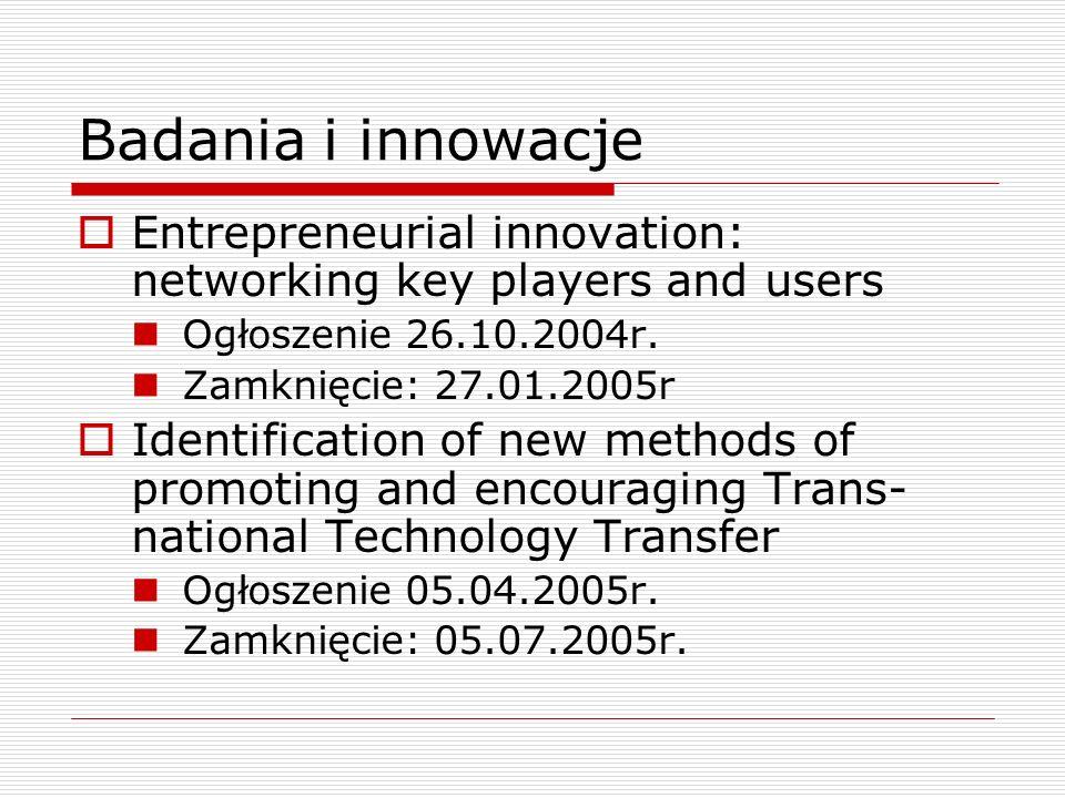 Badania i innowacje Entrepreneurial innovation: networking key players and users Ogłoszenie 26.10.2004r.