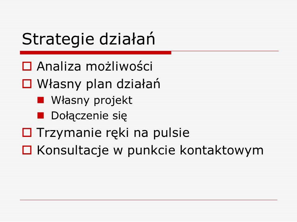 Strategie działań Analiza możliwości Własny plan działań Własny projekt Dołączenie się Trzymanie ręki na pulsie Konsultacje w punkcie kontaktowym