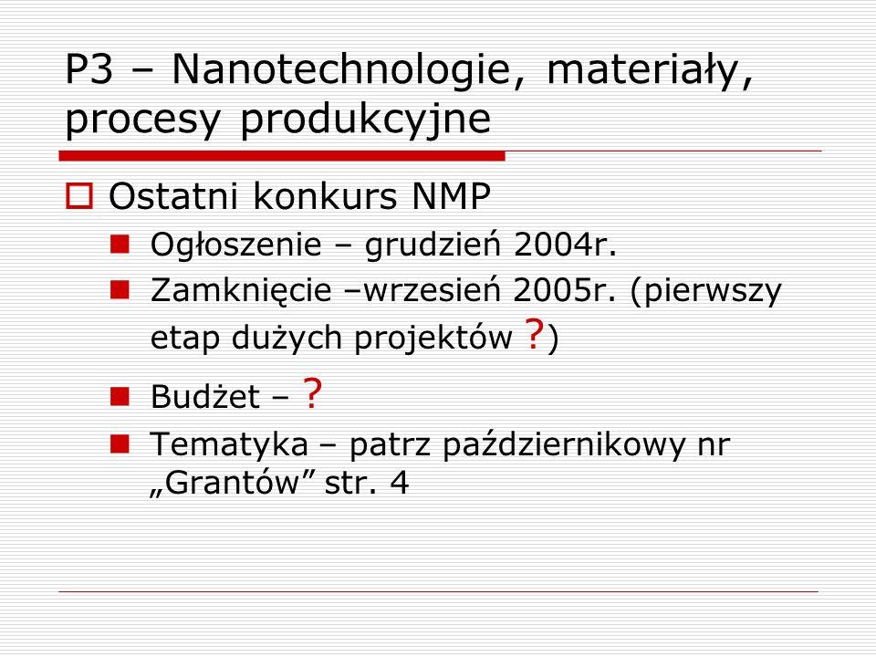 P3 – Nanotechnologie, materiały, procesy produkcyjne Ostatni konkurs NMP Ogłoszenie – grudzień 2004r.