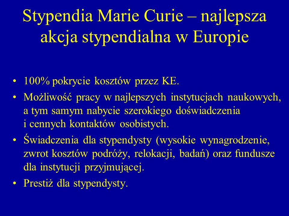 Stypendia Marie Curie – najlepsza akcja stypendialna w Europie 100% pokrycie kosztów przez KE. Możliwość pracy w najlepszych instytucjach naukowych, a