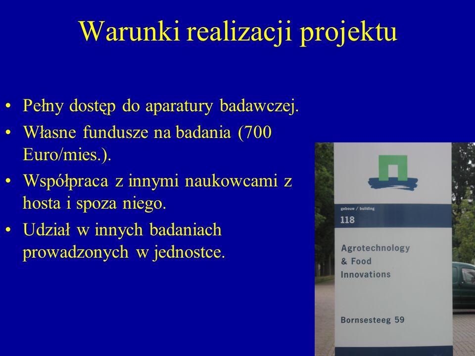 Warunki realizacji projektu Pełny dostęp do aparatury badawczej. Własne fundusze na badania (700 Euro/mies.). Współpraca z innymi naukowcami z hosta i