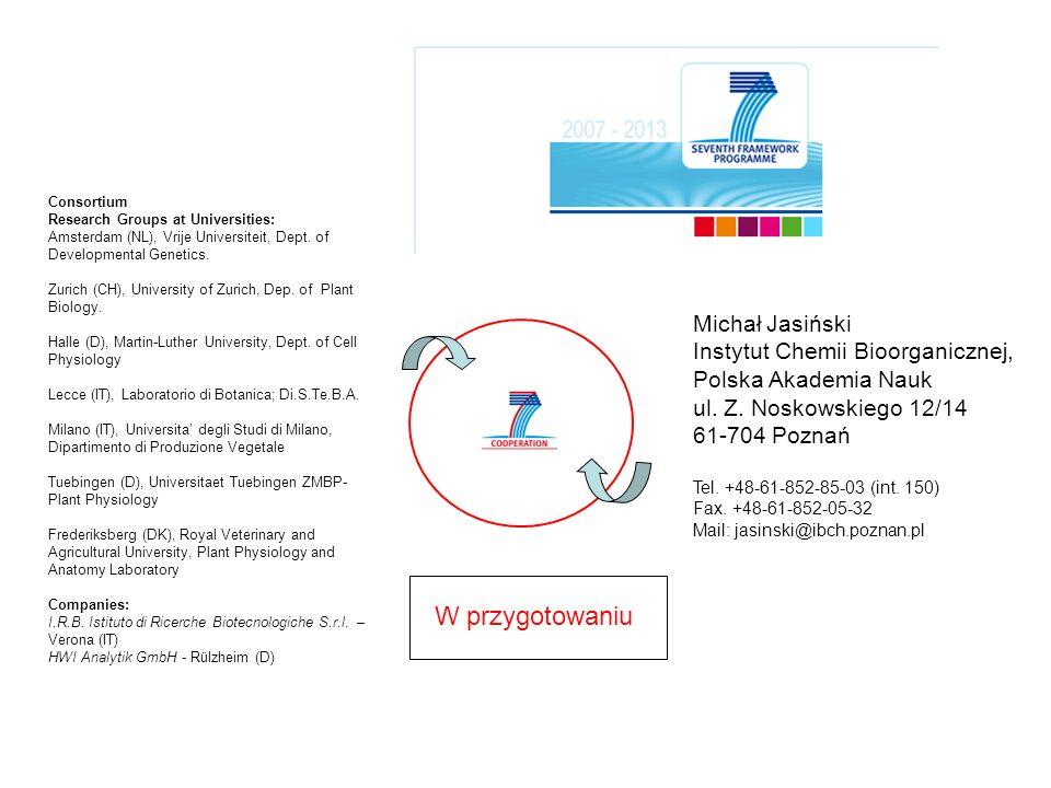 Michał Jasiński Instytut Chemii Bioorganicznej, Polska Akademia Nauk ul. Z. Noskowskiego 12/14 61-704 Poznań Tel. +48-61-852-85-03 (int. 150) Fax. +48
