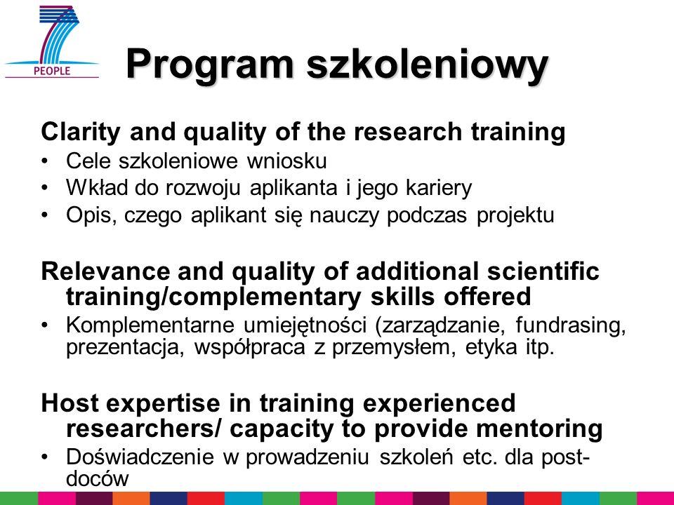Program szkoleniowy Clarity and quality of the research training Cele szkoleniowe wniosku Wkład do rozwoju aplikanta i jego kariery Opis, czego aplika