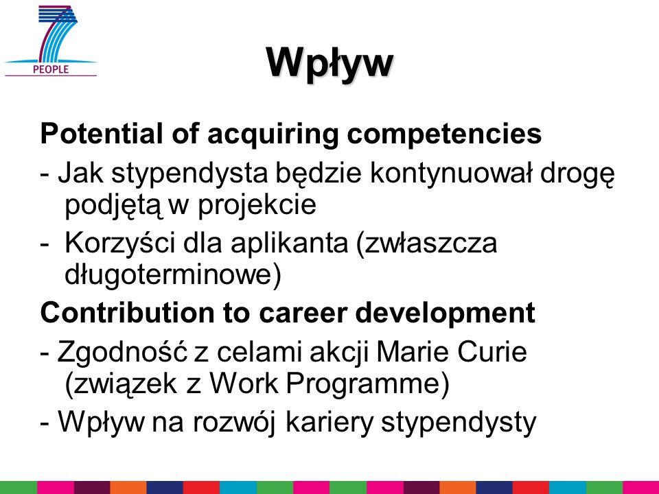 Wpływ Potential of acquiring competencies - Jak stypendysta będzie kontynuował drogę podjętą w projekcie -Korzyści dla aplikanta (zwłaszcza długotermi
