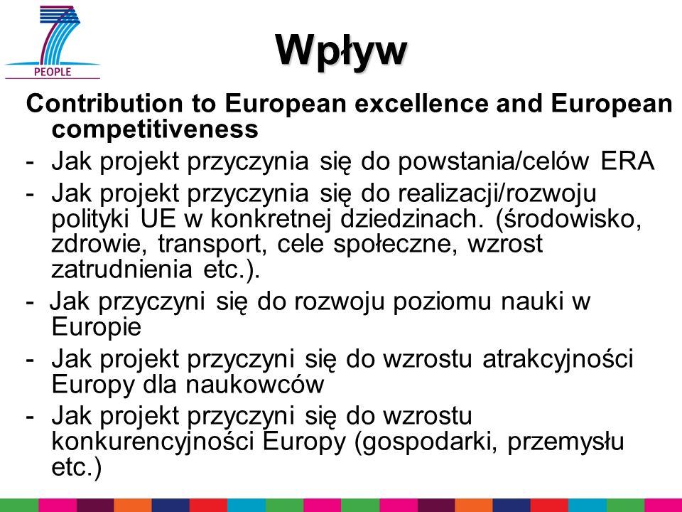 Wpływ Contribution to European excellence and European competitiveness -Jak projekt przyczynia się do powstania/celów ERA -Jak projekt przyczynia się