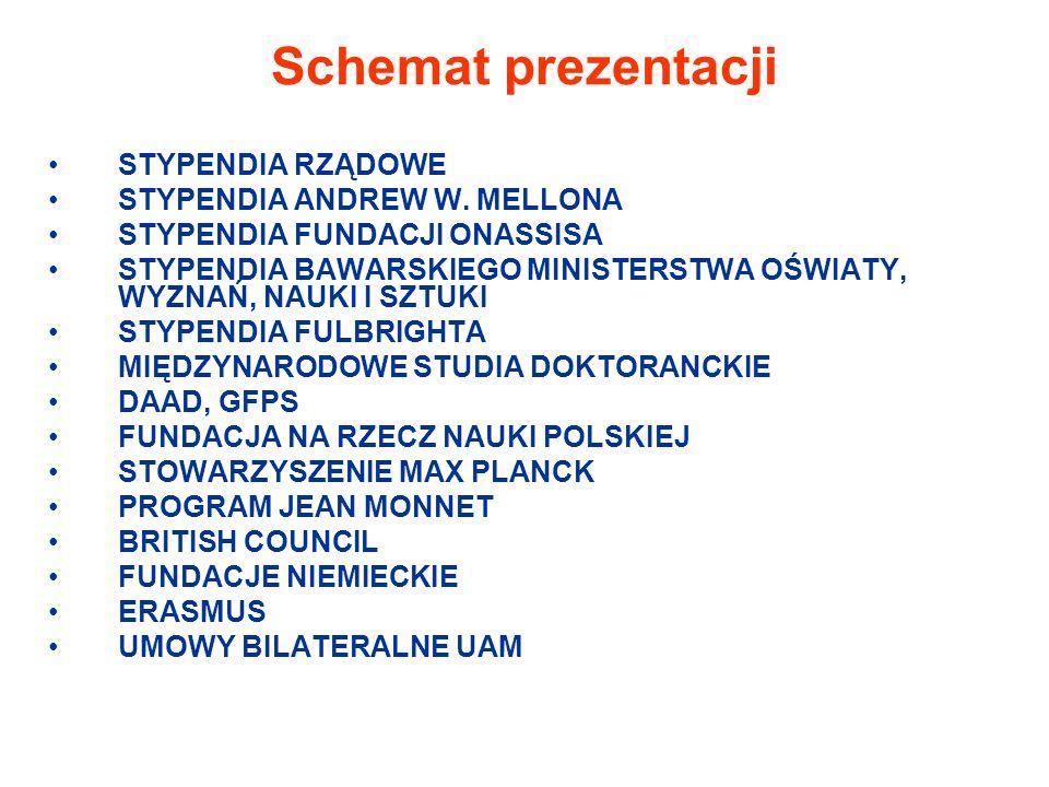 Schemat prezentacji STYPENDIA RZĄDOWE STYPENDIA ANDREW W.