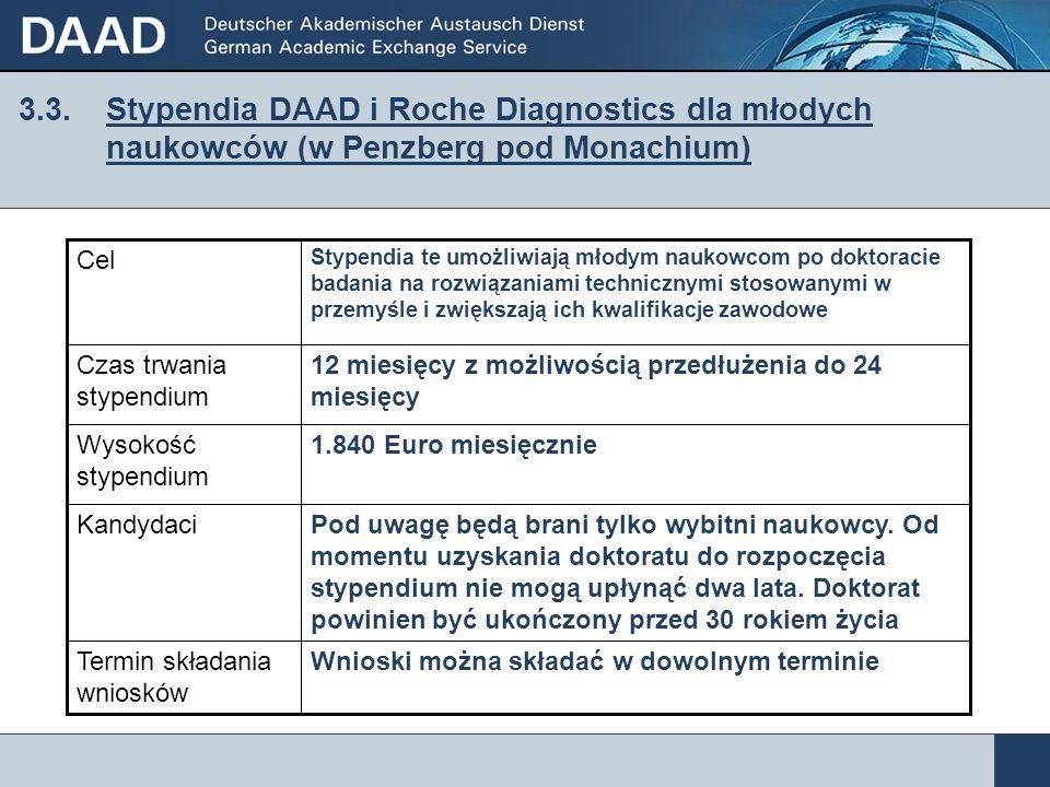 3.3. Stypendia DAAD i Roche Diagnostics dla młodych naukowców (w Penzberg pod Monachium) Wnioski można składać w dowolnym terminieTermin składania wni