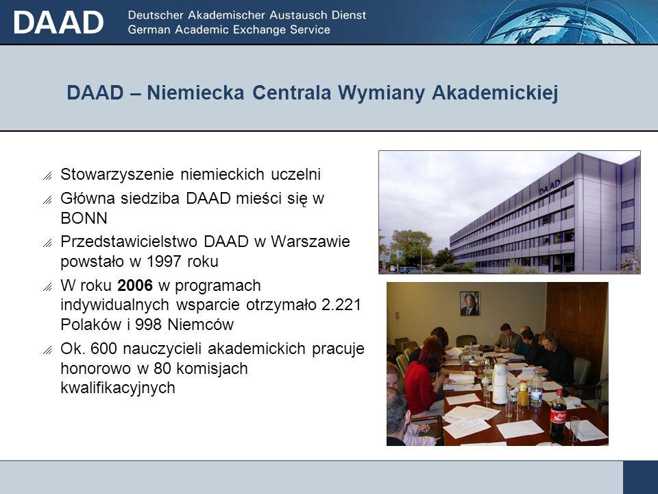 DAAD – Niemiecka Centrala Wymiany Akademickiej Stowarzyszenie niemieckich uczelni Główna siedziba DAAD mieści się w BONN Przedstawicielstwo DAAD w War