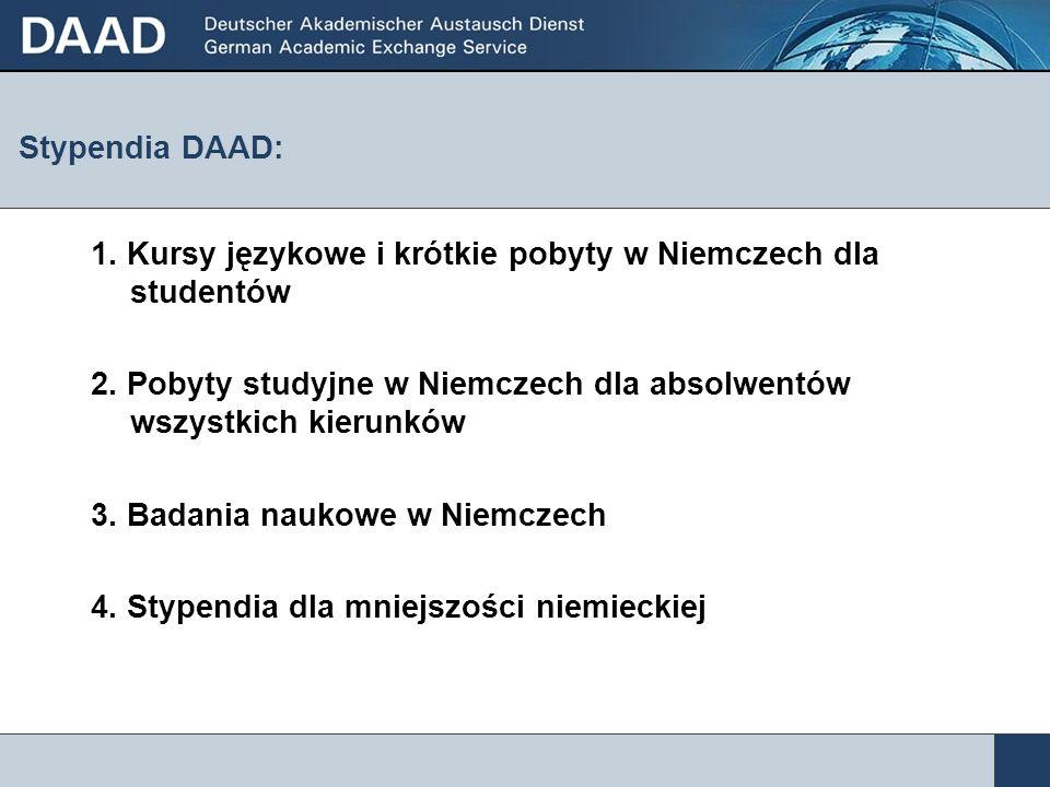 Stypendia DAAD: 1. Kursy językowe i krótkie pobyty w Niemczech dla studentów 2. Pobyty studyjne w Niemczech dla absolwentów wszystkich kierunków 3. Ba