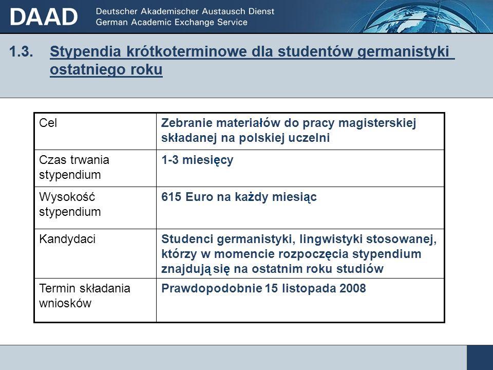 1.3. Stypendia krótkoterminowe dla studentów germanistyki ostatniego roku Prawdopodobnie 15 listopada 2008Termin składania wniosków Studenci germanist