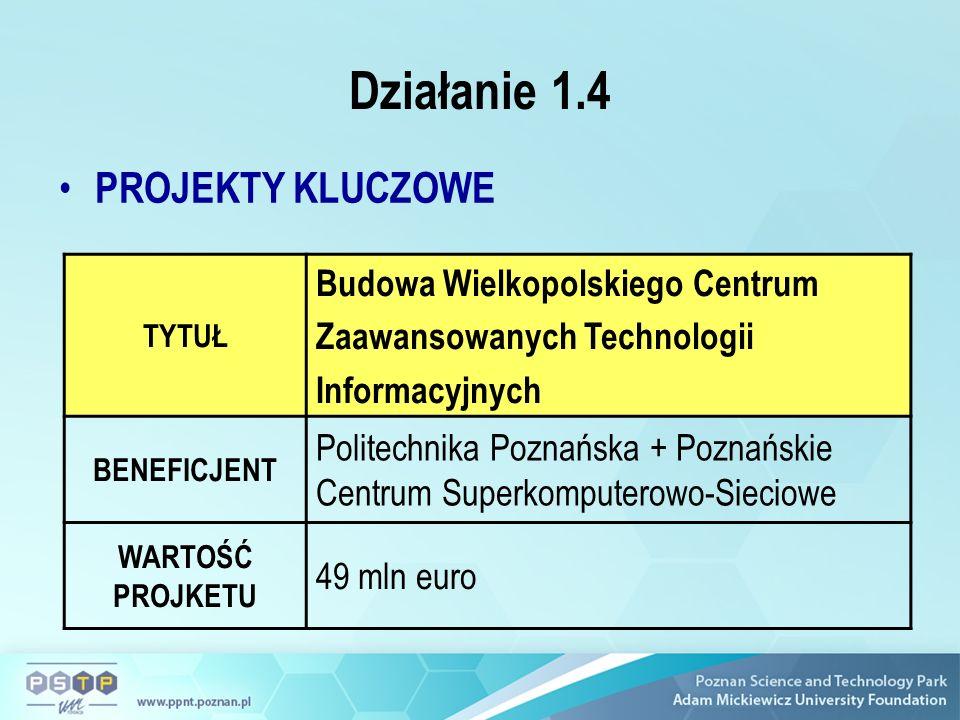 Działanie 1.4 PROJEKTY KLUCZOWE TYTUŁ Budowa Wielkopolskiego Centrum Zaawansowanych Technologii Informacyjnych BENEFICJENT Politechnika Poznańska + Poznańskie Centrum Superkomputerowo-Sieciowe WARTOŚĆ PROJKETU 49 mln euro