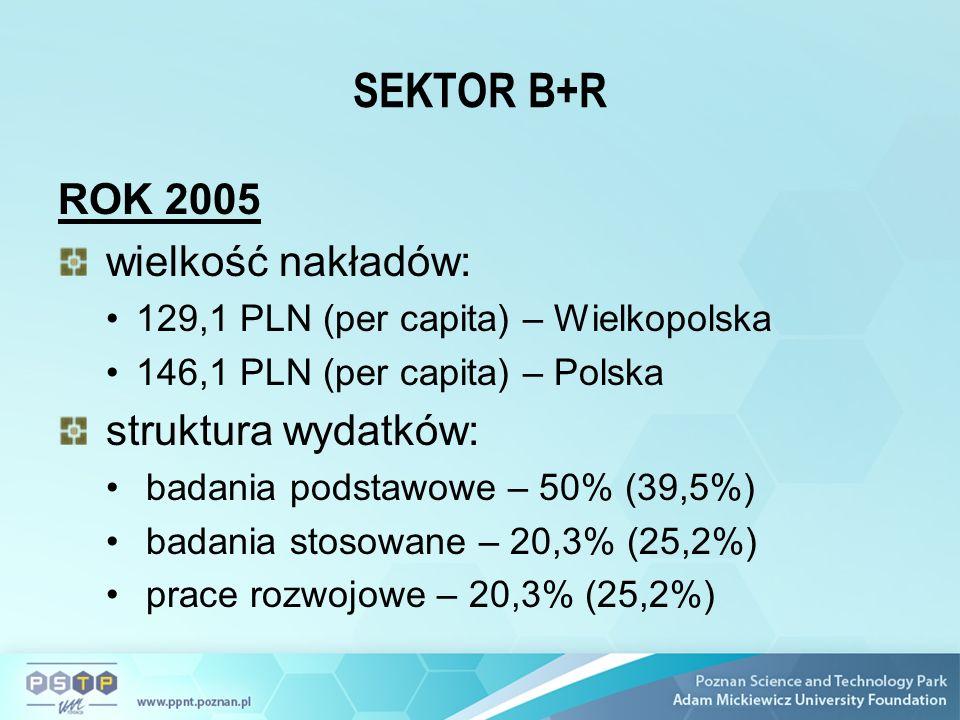 SEKTOR B+R ROK 2005 wielkość nakładów: 129,1 PLN (per capita) – Wielkopolska 146,1 PLN (per capita) – Polska struktura wydatków: badania podstawowe – 50% (39,5%) badania stosowane – 20,3% (25,2%) prace rozwojowe – 20,3% (25,2%)