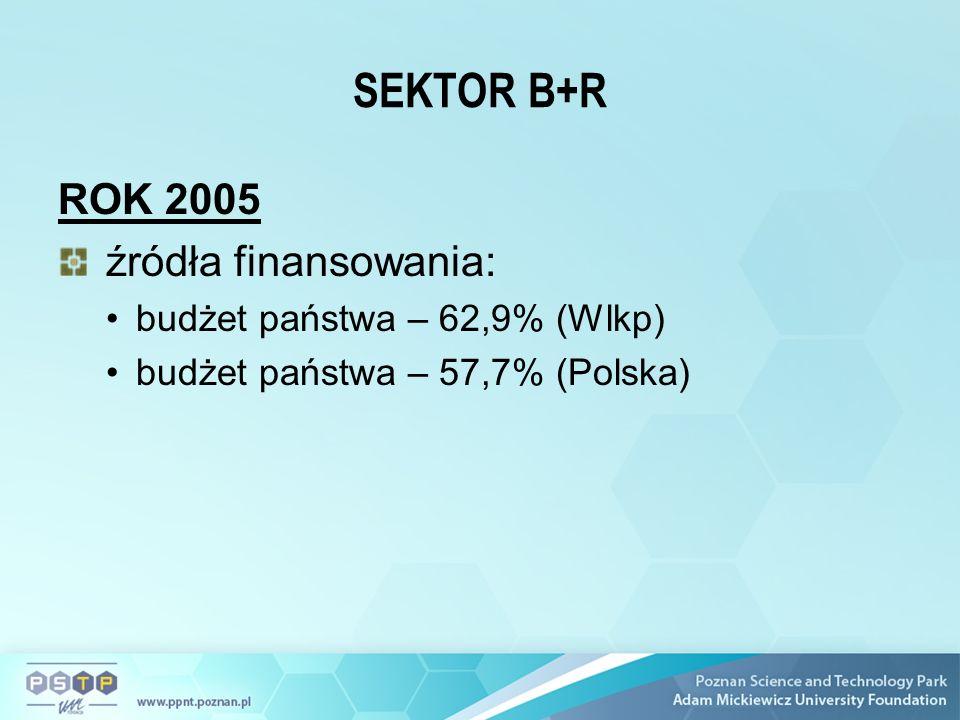SEKTOR B+R ROK 2005 źródła finansowania: budżet państwa – 62,9% (Wlkp) budżet państwa – 57,7% (Polska)