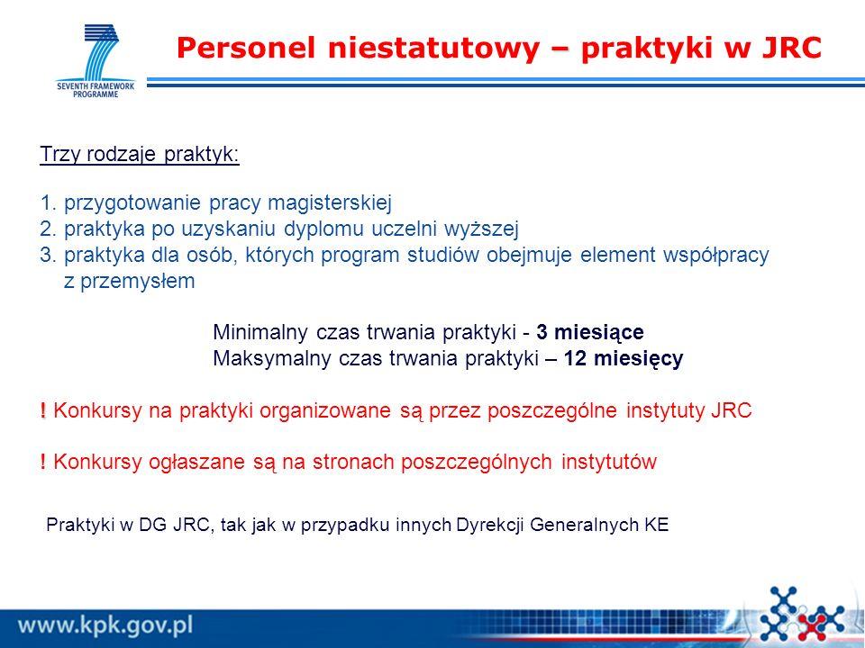 – Personel niestatutowy – praktyki w JRC . Trzy rodzaje praktyk: 1.