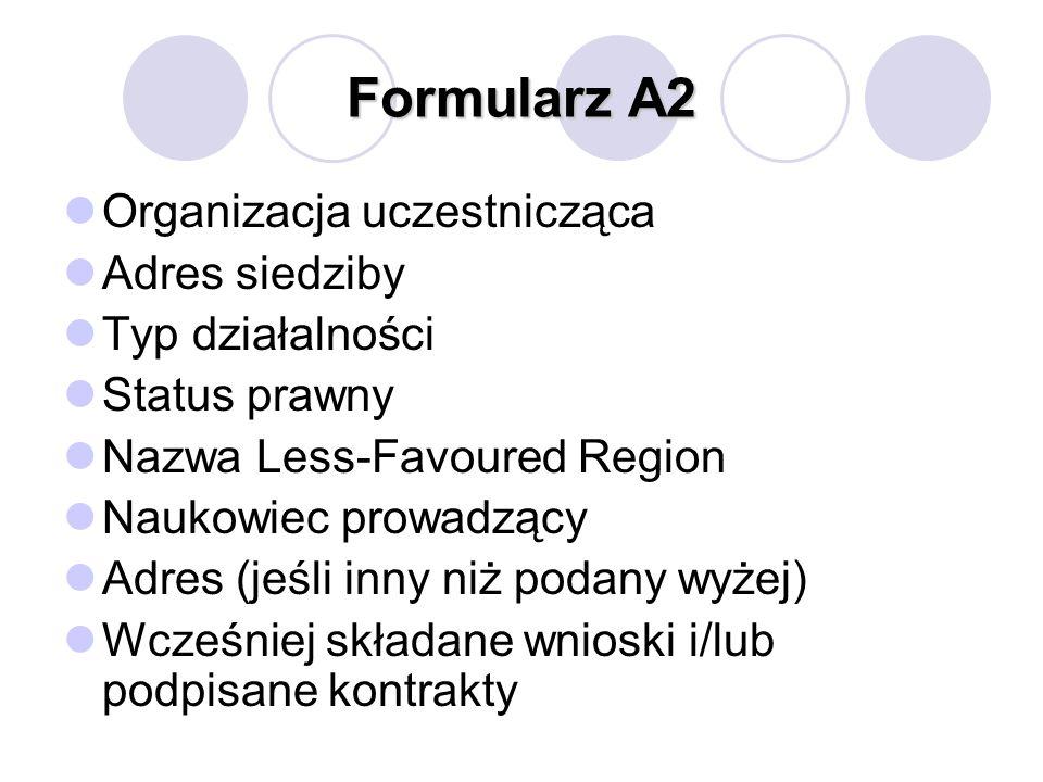 Formularz A2 Organizacja uczestnicząca Adres siedziby Typ działalności Status prawny Nazwa Less-Favoured Region Naukowiec prowadzący Adres (jeśli inny