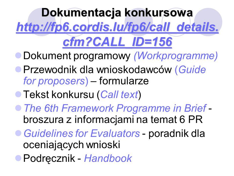 Dokumentacja konkursowa http://fp6.cordis.lu/fp6/call_details. cfm?CALL_ID=156 http://fp6.cordis.lu/fp6/call_details. cfm?CALL_ID=156 http://fp6.cordi