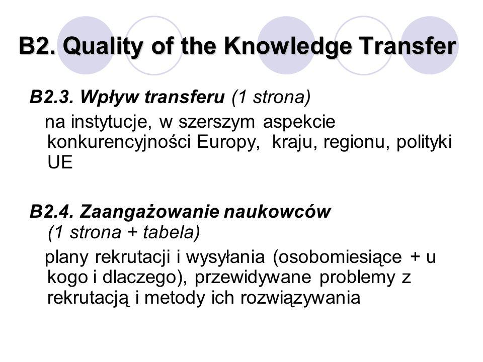 B2. Quality of the Knowledge Transfer B2.3. Wpływ transferu (1 strona) na instytucje, w szerszym aspekcie konkurencyjności Europy, kraju, regionu, pol