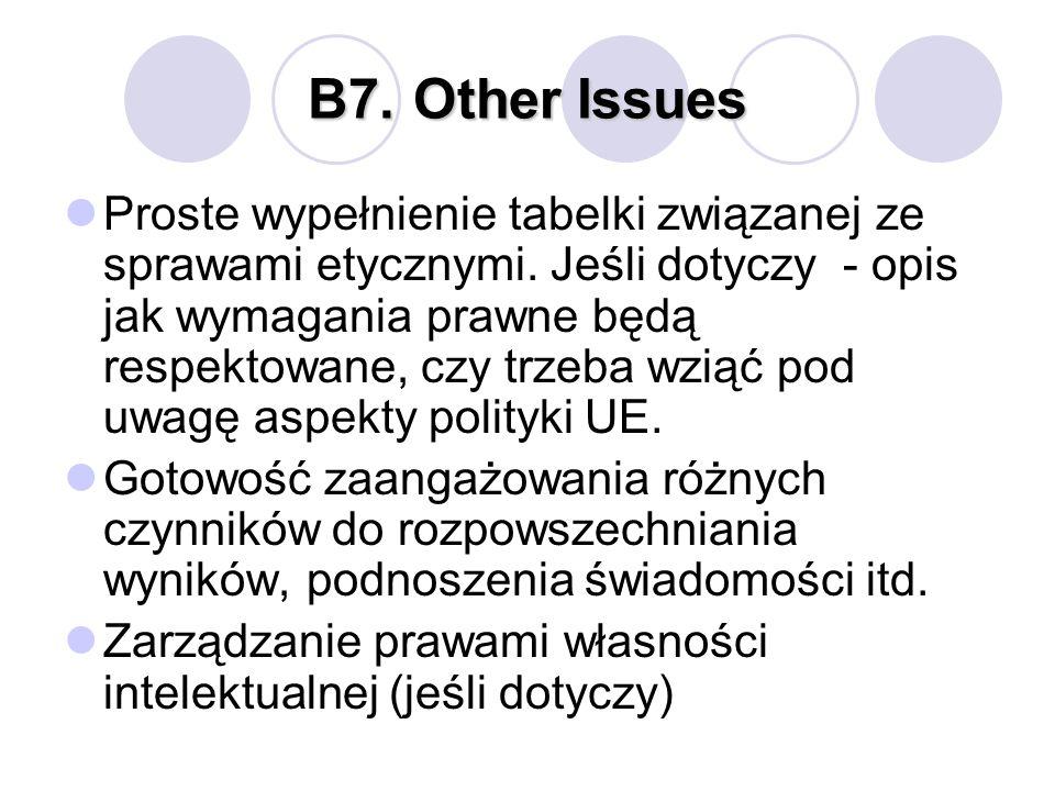 B7.Other Issues Proste wypełnienie tabelki związanej ze sprawami etycznymi. Jeśli dotyczy - opis jak wymagania prawne będą respektowane, czy trzeba wz