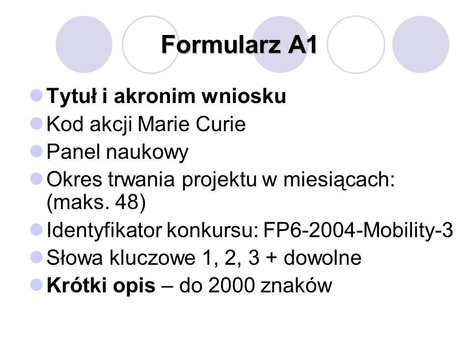 Formularz A1 Tytuł i akronim wniosku Kod akcji Marie Curie Panel naukowy Okres trwania projektu w miesiącach: (maks. 48) Identyfikator konkursu: FP6-2